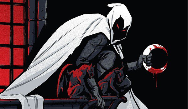 moon knight with a bloody weapon