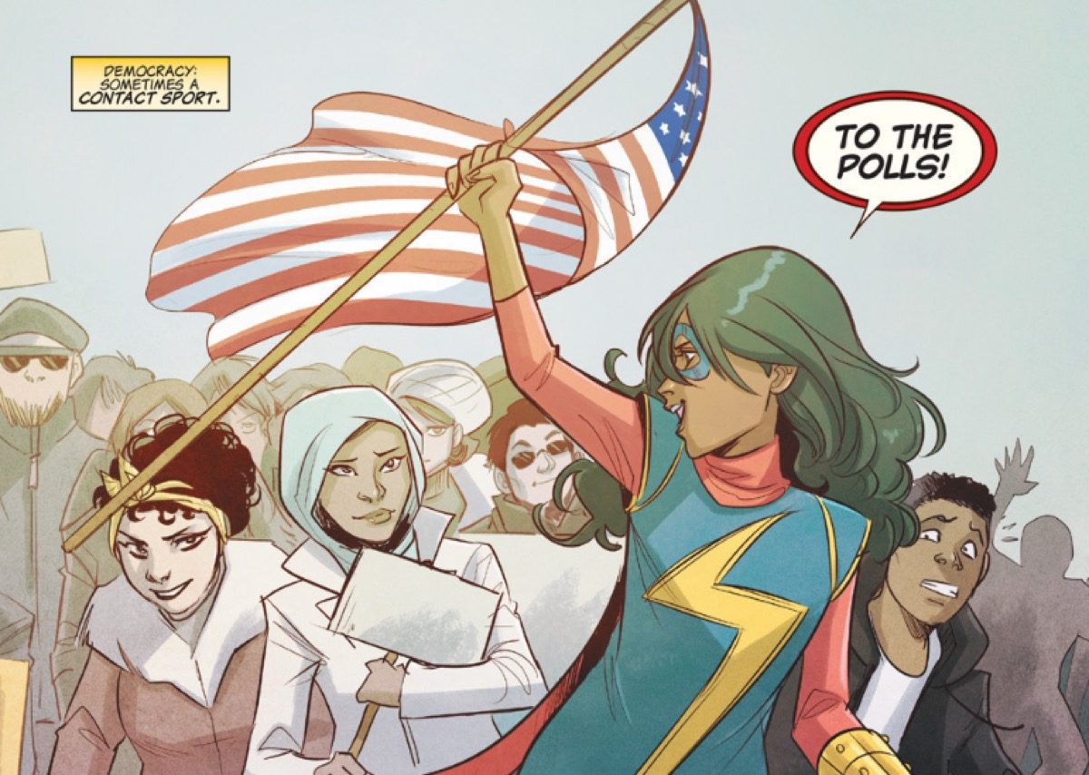 "Ms. Marvel yells, ""To the polls!"" while raising an American flag."