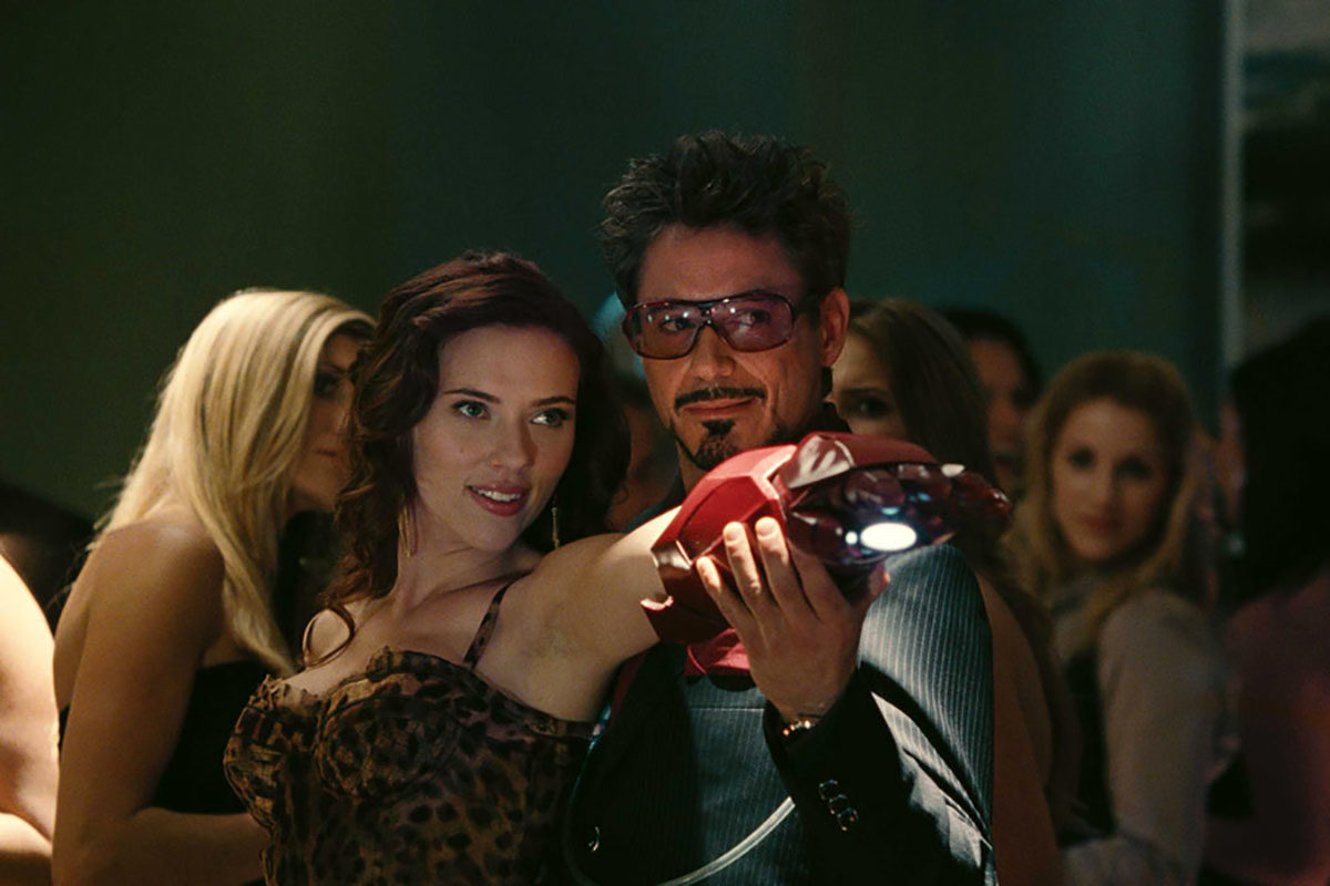 Tony Stark and Natasha Romanoff in Iron Man 2
