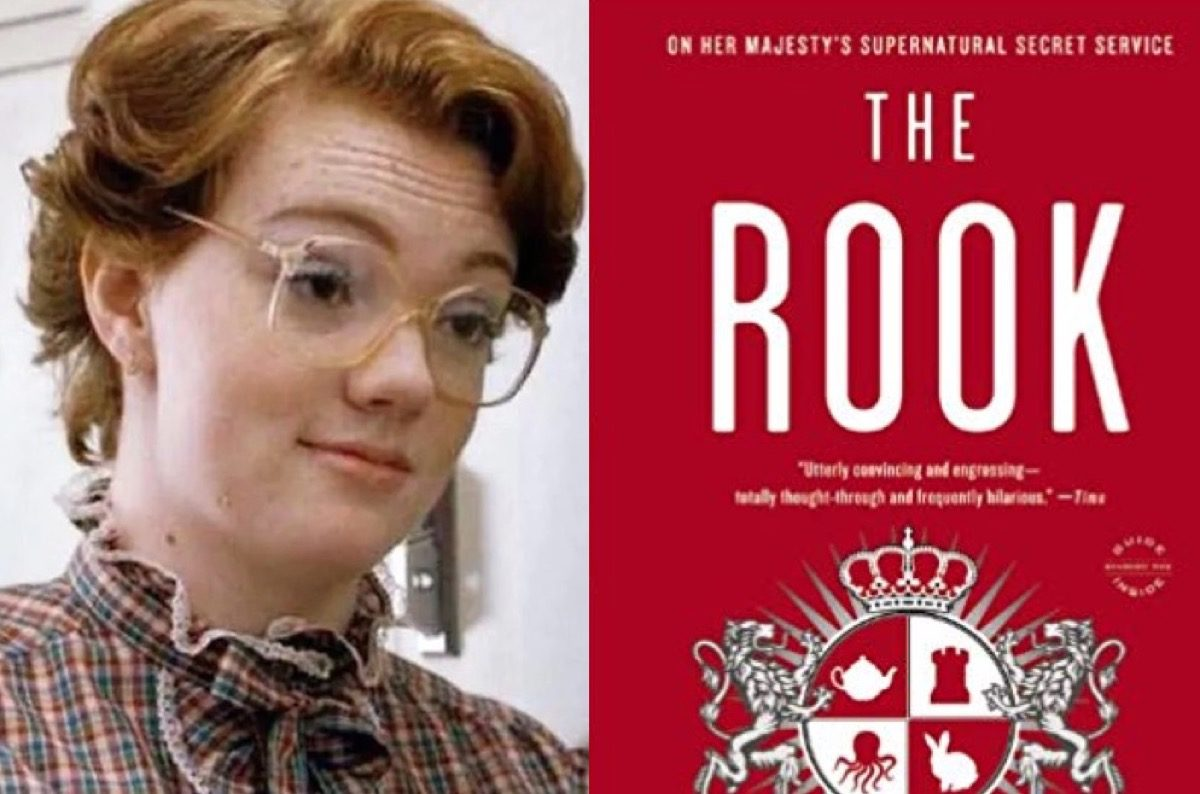 Barb in Netflix's Stranger Things and The Rook book cover.
