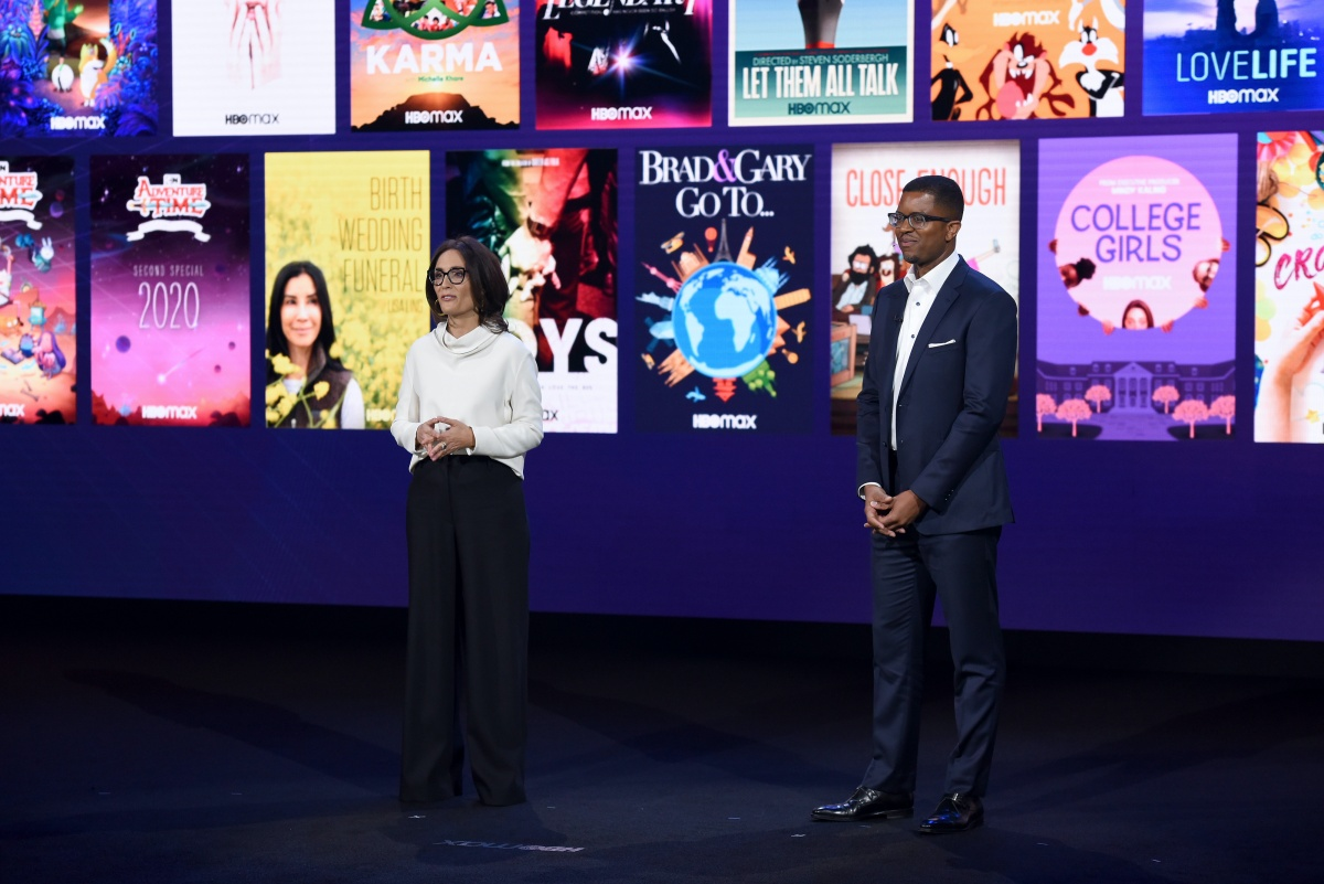 BURBANK, CALIFORNIA - OCTOBER 29: Sarah Aubrey, Head of Original Content of HBO Max, and Michael Quigley, Executive Vice President, Acquisitions and Strategy of HBO Max, speak onstage at HBO Max WarnerMedia Investor Day Presentation at Warner Bros. Studios on October 29, 2019 in Burbank, California. (Photo by Presley Ann/Getty Images for WarnerMedia)
