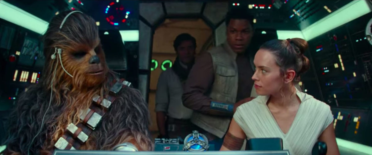 Rey and Chewbacca pilot the Millennium Falcon while Finn and Poe enter in Star Wars: Rise of SKywalker trailer.