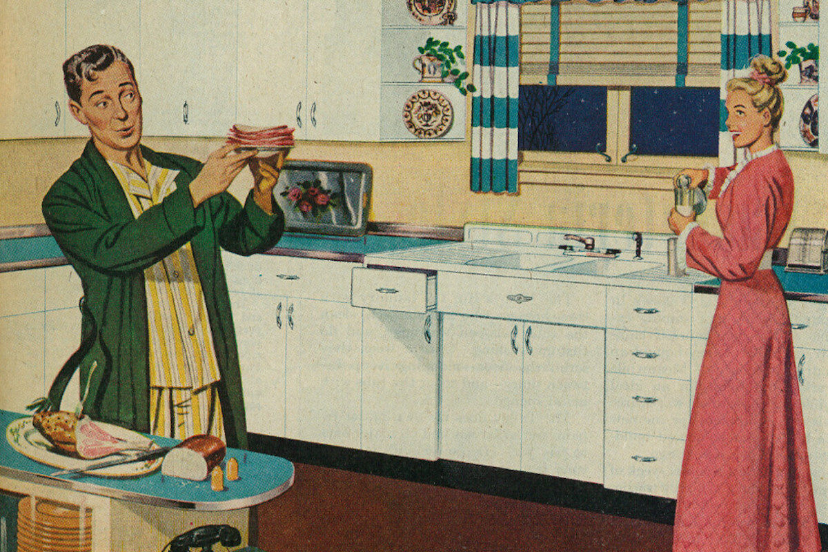 50s illustration featuring a woman in a nightdress in a kitchen and her husband making a sandwich.