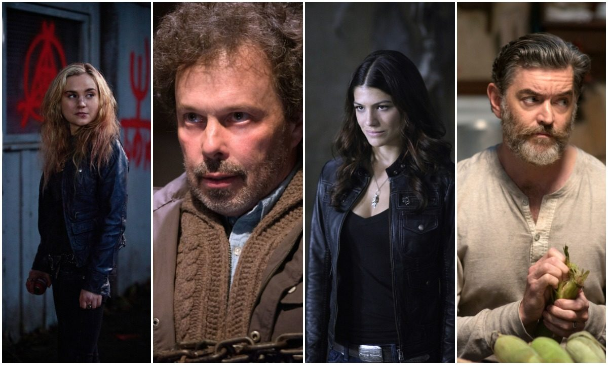 collage of Meg, Metatron, Ruby and cain from Supernatural