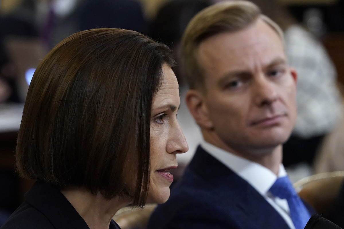 Fiona Hill (L), the National Security Council's former senior director for Europe and Russia, and David Holmes (R), an official from the American embassy in Ukraine, testify before the House Intelligence Committee