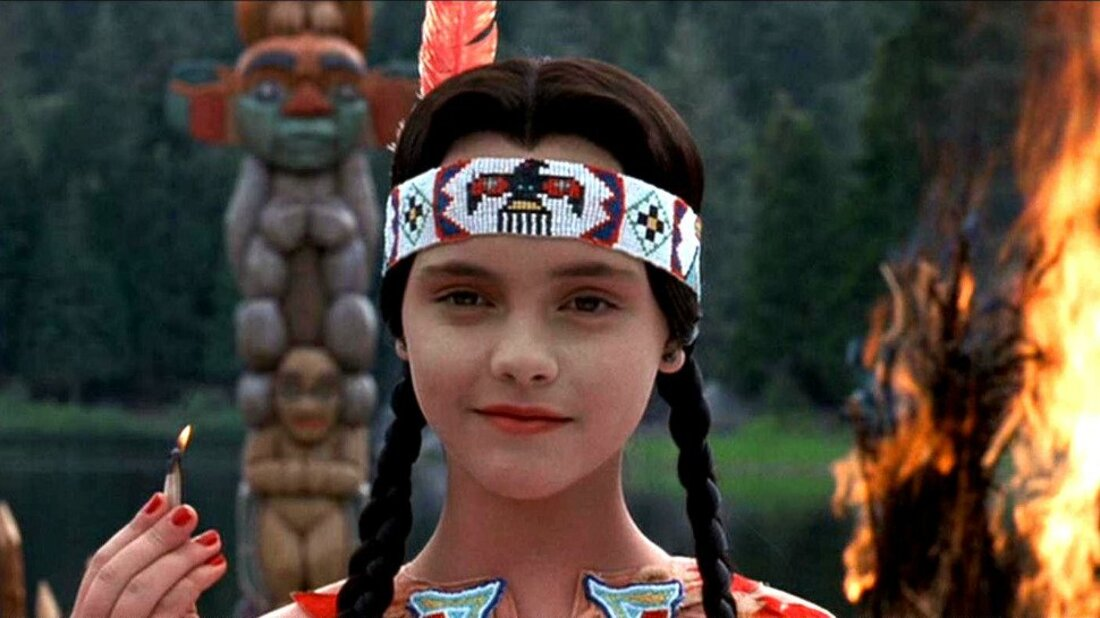 Wednesday Addams strikes a match to kill thansgiving in addams family values