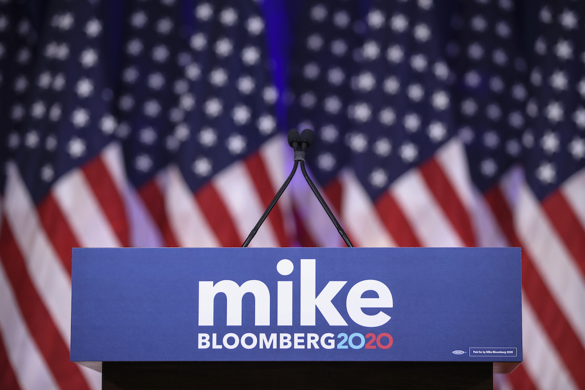 An empty podium is set for Newly announced Democratic presidential candidate, former New York Mayor Michael Bloomberg