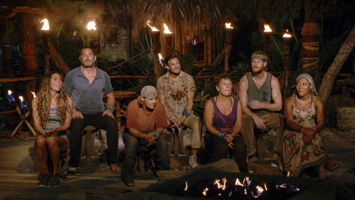 """""""Just Go for It"""" - Noura Salman, Dan Spilo, Elaine Stott, Dean Kowalski, Janet Carbin, Tommy Sheehan and Lauren Beck at Tribal Council on the Thirteenth episode of SURVIVOR: Island of Idols airing Wednesday, Dec. 11th (8:00-9:00 PM, ET/PT) on the CBS Television Network. Photo: Screen Grab/CBS Entertainment ©2019 CBS Broadcasting, Inc. All Rights Reserved."""