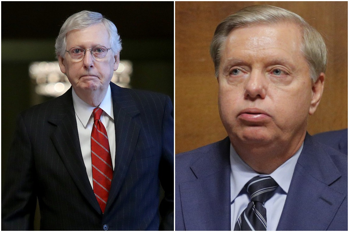 collage of two racid bowls of yougurt aka mitch mcconnel and lindsey graham
