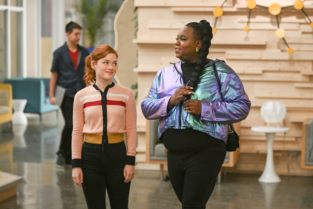 "ZOEY'S EXTRAORDINARY PLAYLIST -- ""TBD"" Episode 103 -- Pictured: (l-r) Jane Levy as Zoey Clarke; Alex Newell as Mo -- (Photo by: Sergei Bachlakov/NBC)"