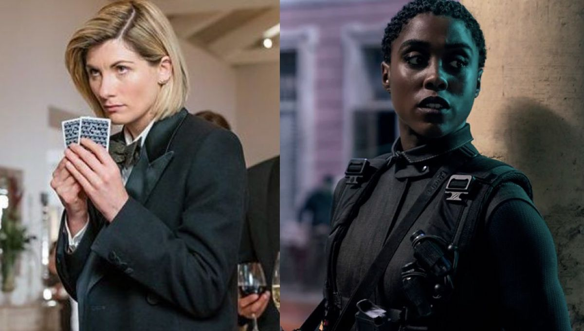 Jodie Whittaker as The Doctor playing cards in Spyfall and Lashana Lynch as 007 in No Time to Die.