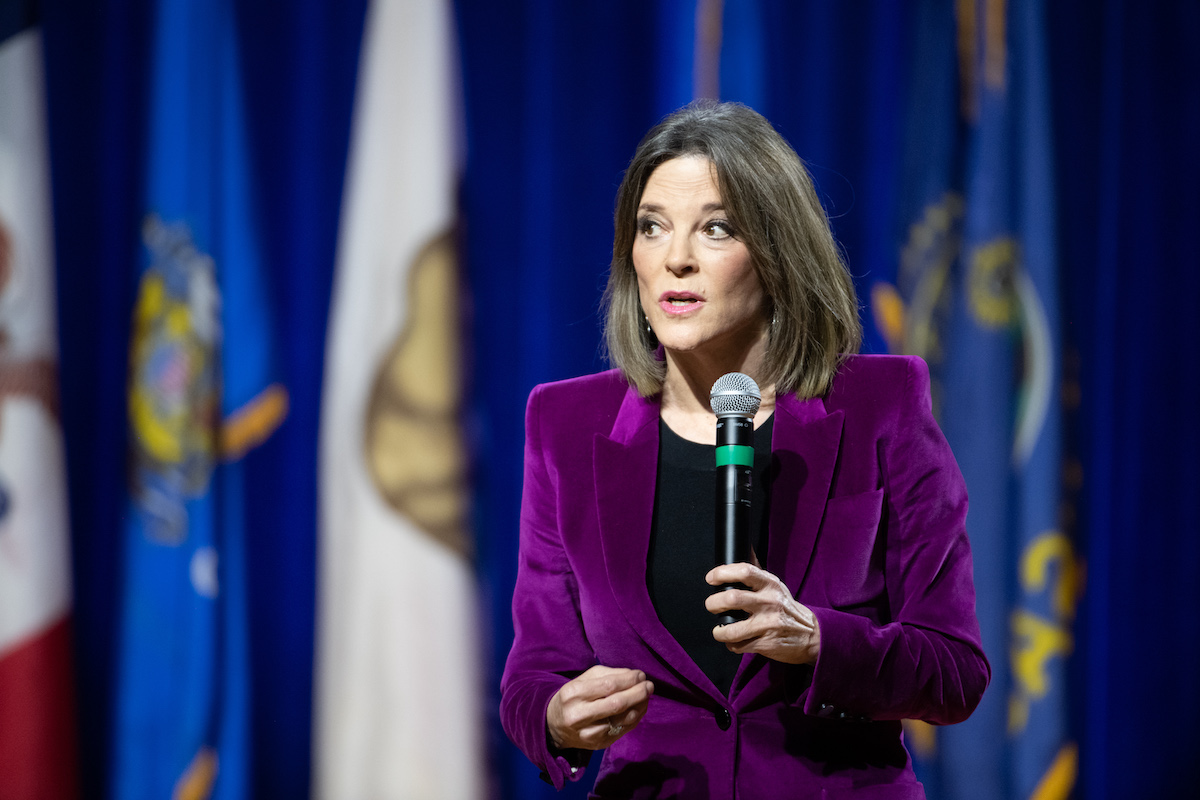 Marianne Williamson addresses the audience at the Environmental Justice Presidential Candidate Forum