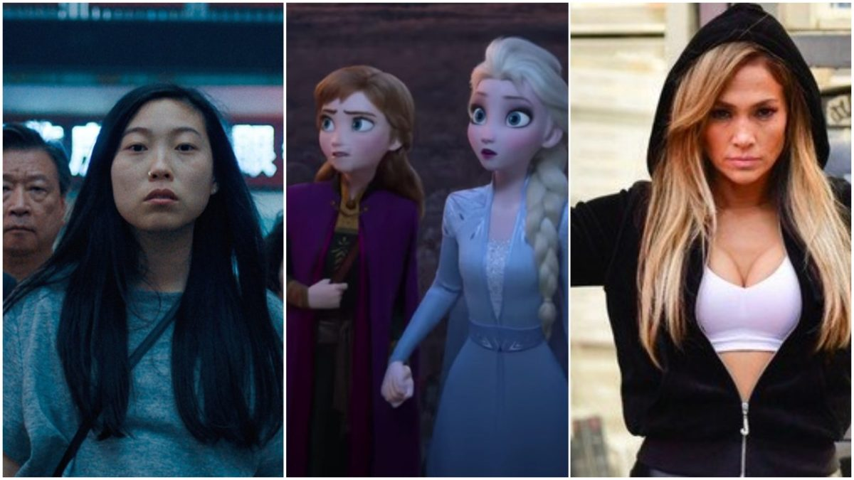 awkwafina in the farewell, frozen 2 and jennifer lopez in hustlers collage