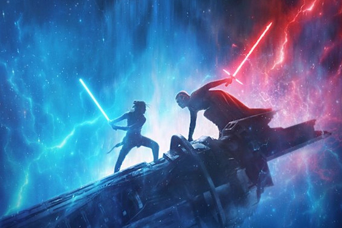 Rey and Kylo Ren lightsaber battle on the Star Wars: The Rise of Skywalker poster.