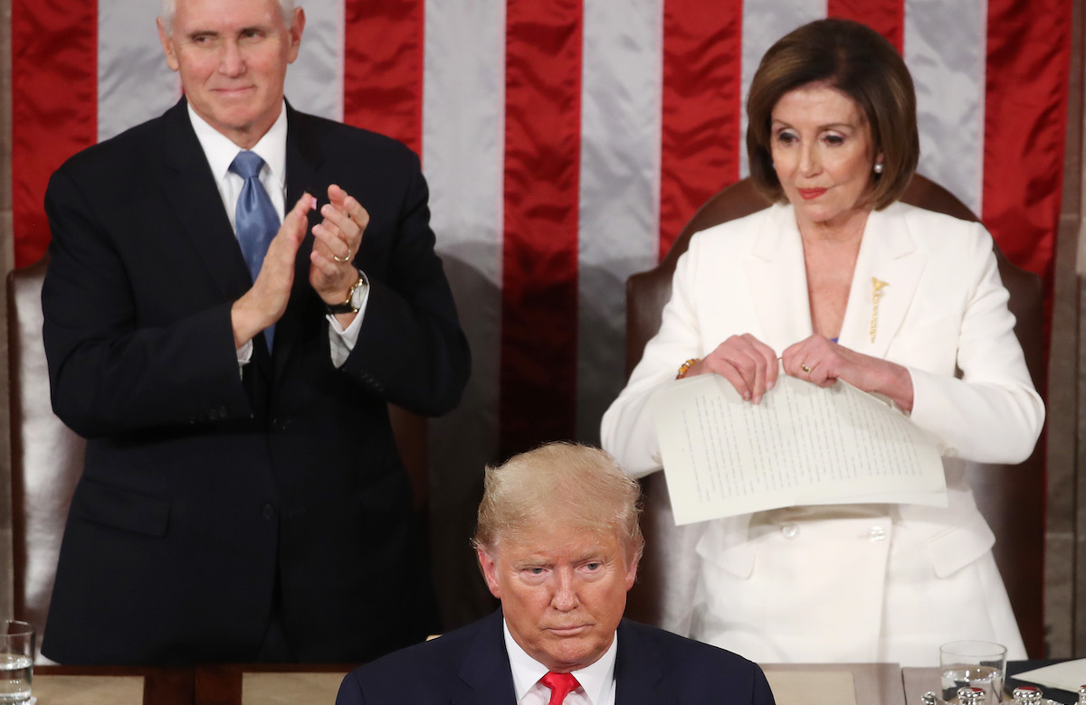 House Speaker Rep. Nancy Pelosi (D-CA) rips up pages of the State of the Union speech