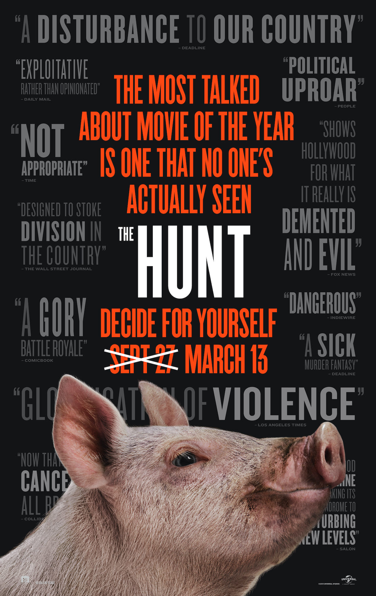 The promotional poster for The Hunt features a large pig and pull quotes.