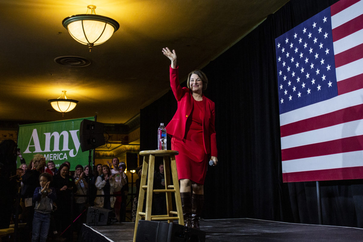 RICHMOND, VA - FEBRUARY 29: Democratic Presidential Candidate Sen. Amy Klobuchar (D-MN) waves as she leaves the stage after speaking during a campaign rally at the Altria Theatre on February 29, 2020 in Richmond, Virginia. Klobuchar continues to seek support for the Democratic nomination leading into the Super Tuesday vote on March 3. (Photo by Zach Gibson/Getty Images)