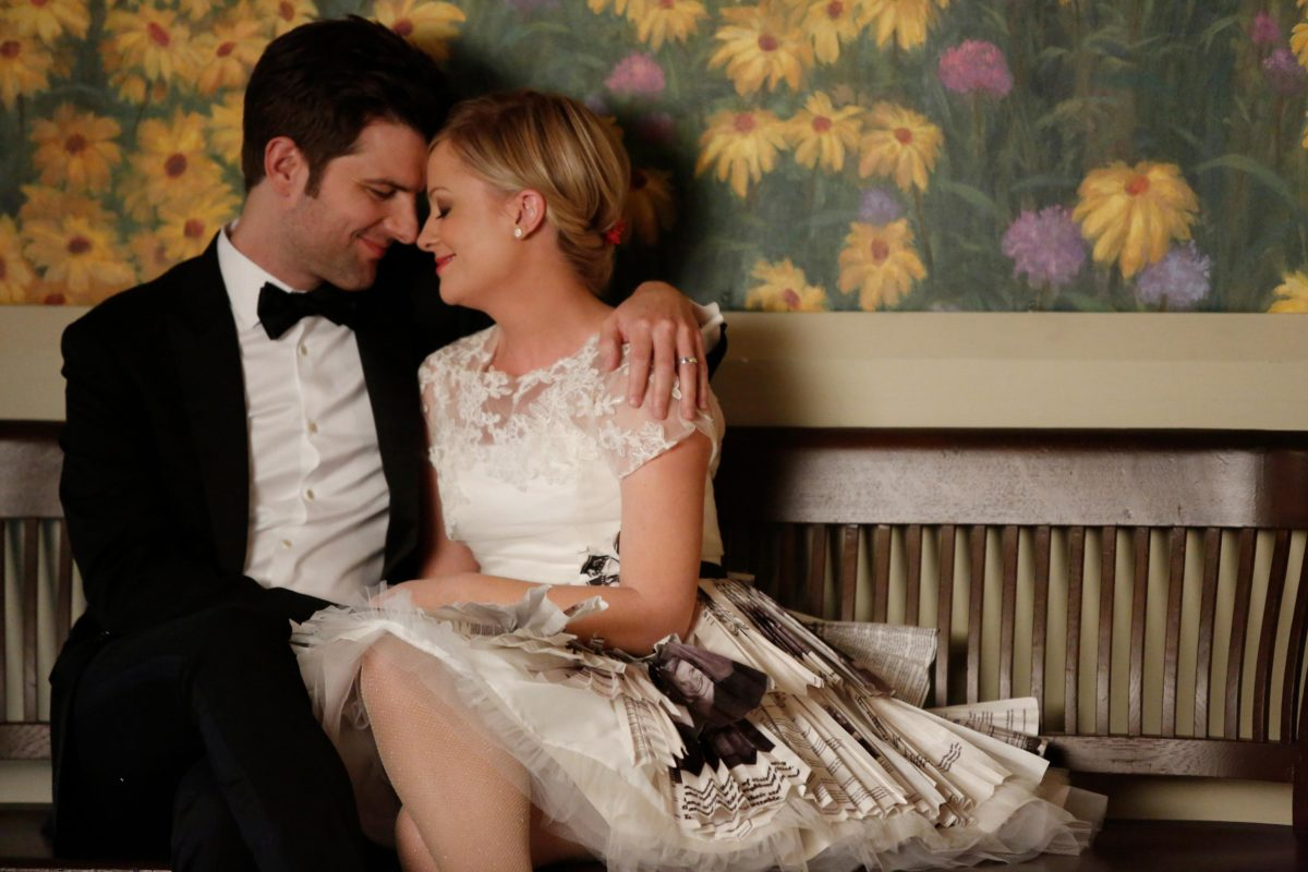 Adam Scott as Ben Wyatt and Amy Poehler as Leslie Knope in Parks and Recreation
