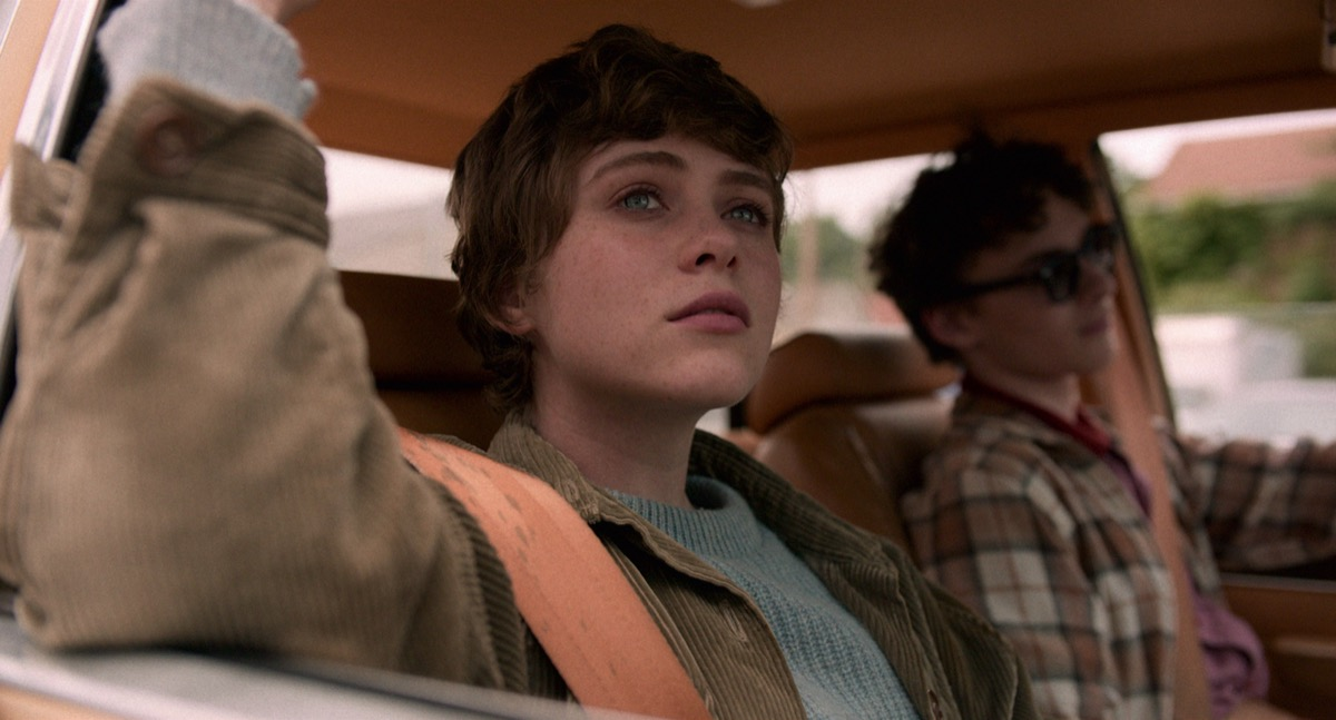 Syd and Stanley riding in the car in Netflix's in I Am Not Okay With This.