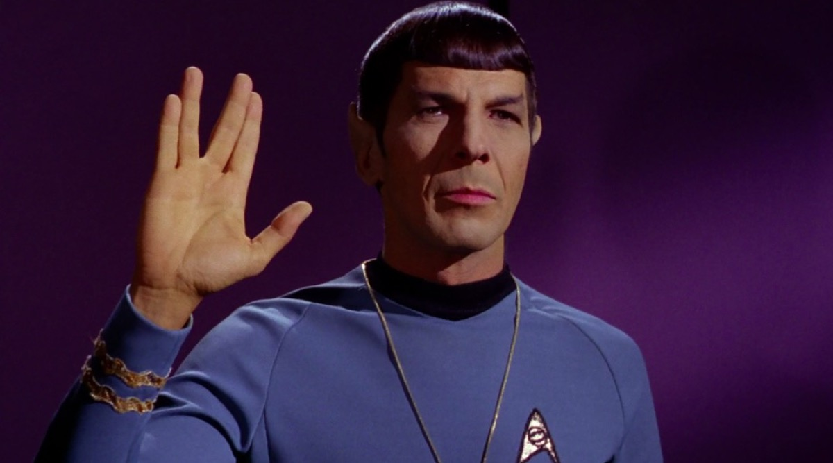 Spock performs Vulcan salute on Star Trek.