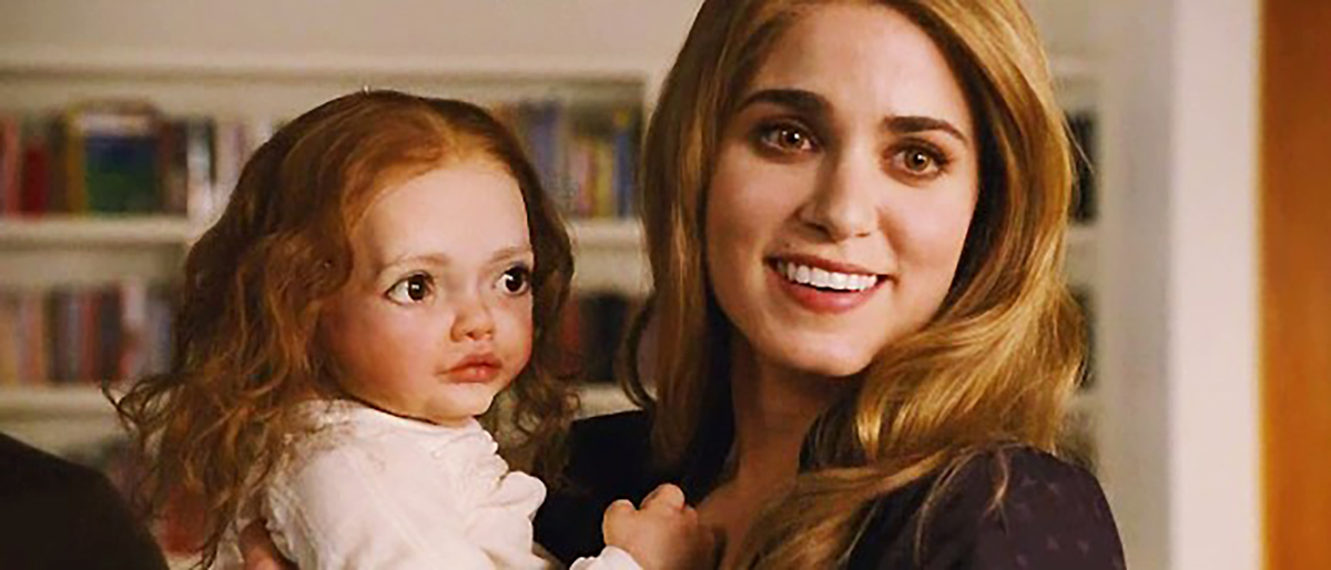 Rosalie holding a haunted baby in Twilight