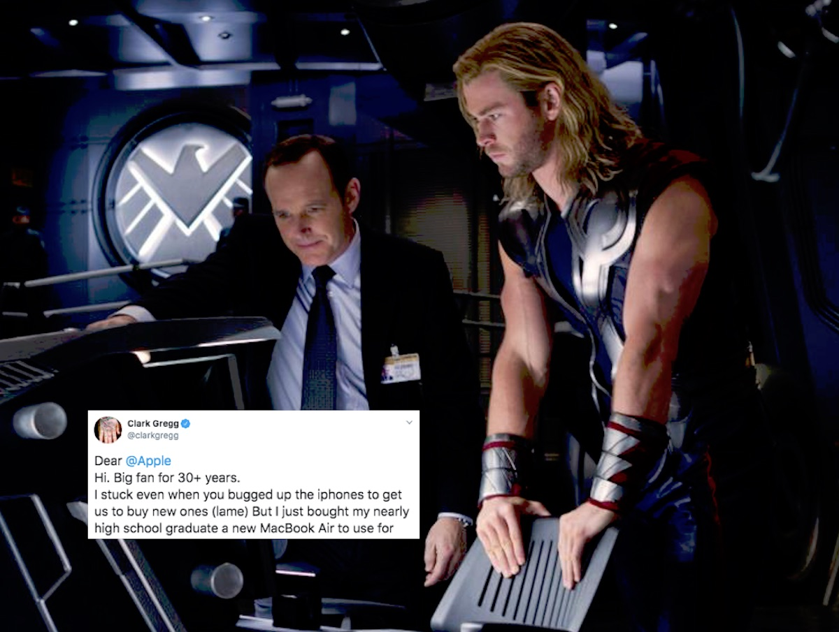 Actor Clark Gregg tweeted about the bad webcam on new MacBook air