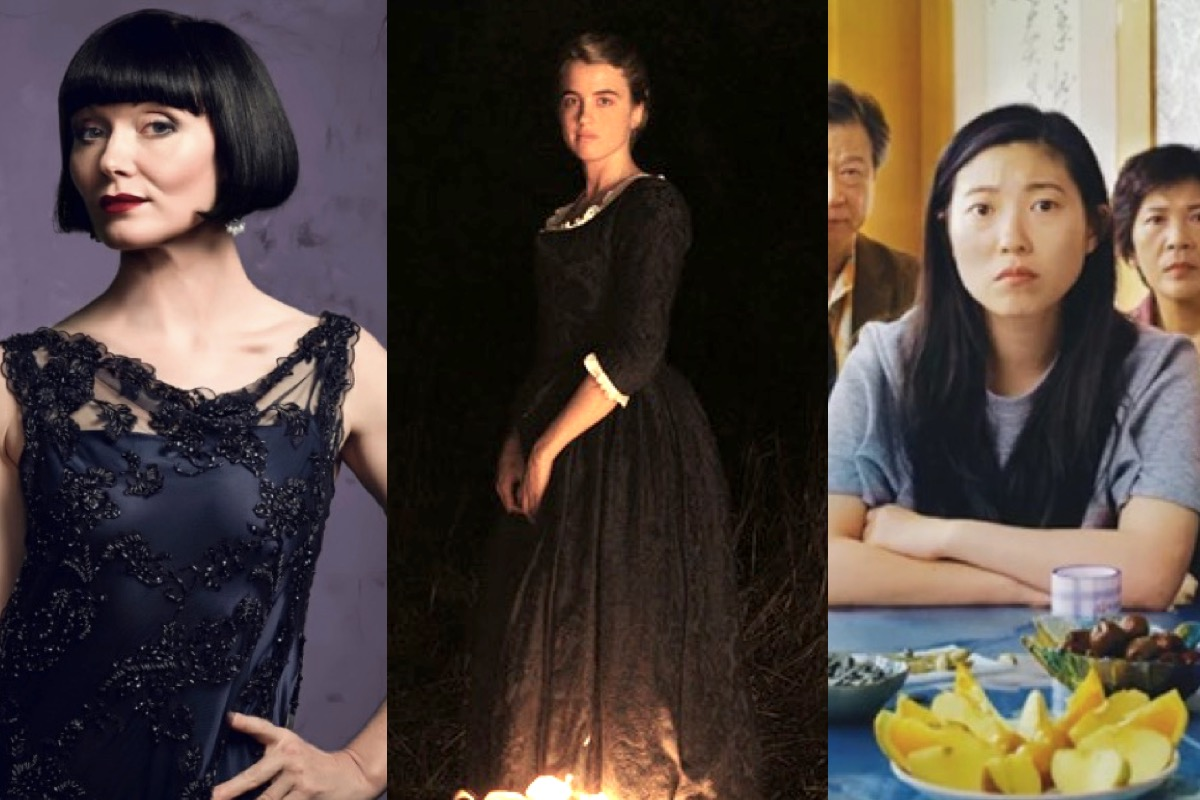 Miss Fisher, Portrait of a Lady on Fire, and The Farewell composite.