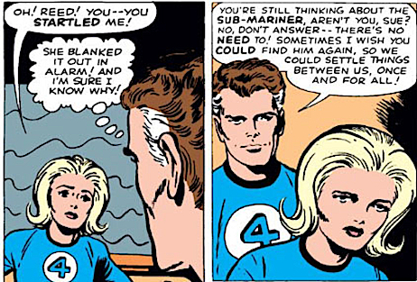 Sue Storm and Reed Richards talking about the Sub Mariner.