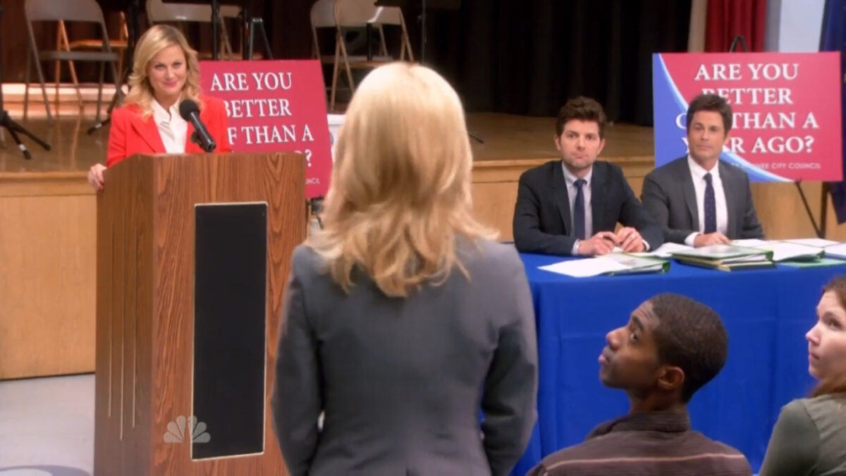 Town Hall meeting from Parks and Recreation
