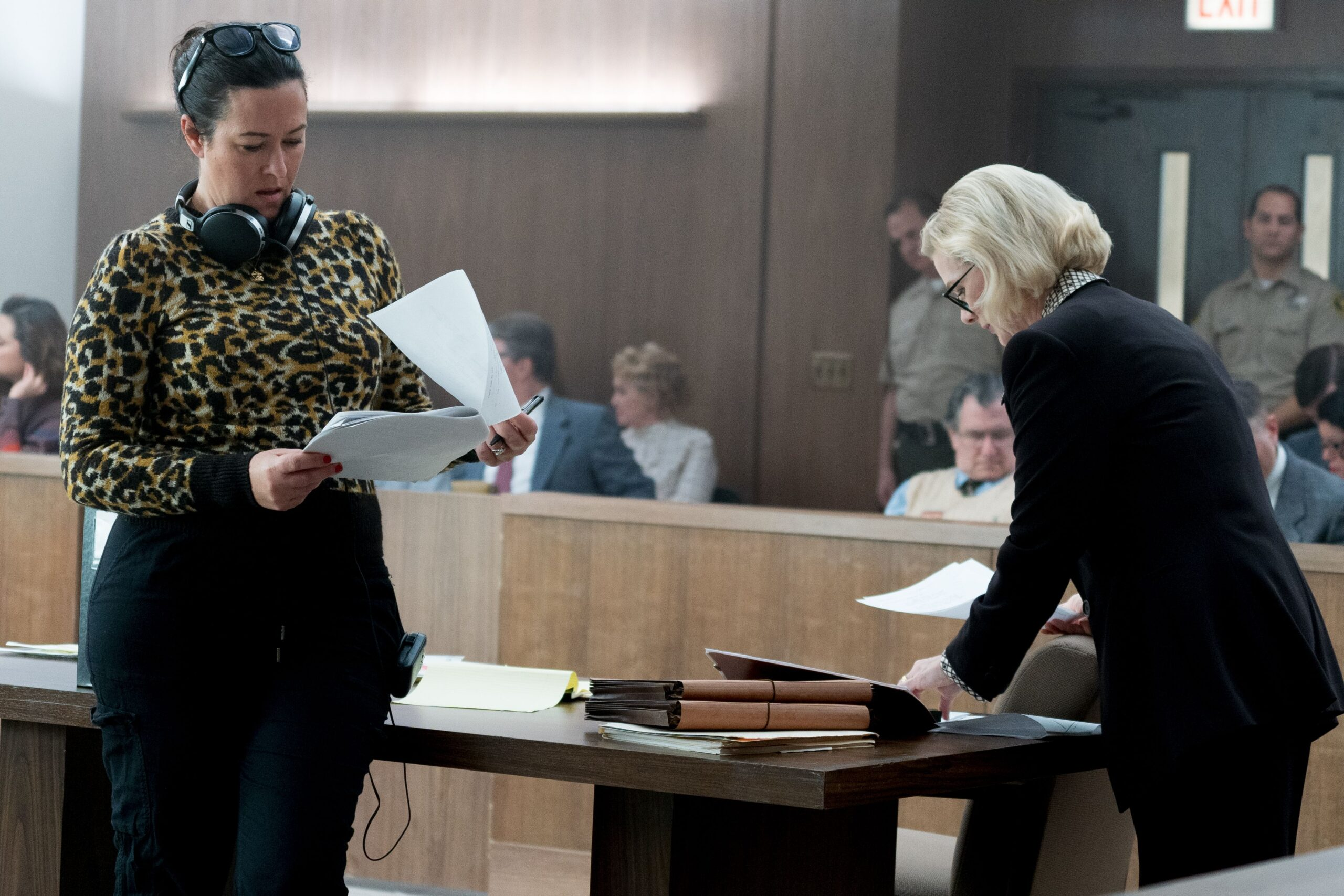 Maggie Kiley on the set of Dirty John, in a courtroom.