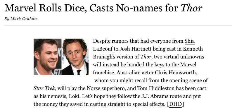 Chris Hemsworth and Tom Hiddleston unknowns cast for Thor