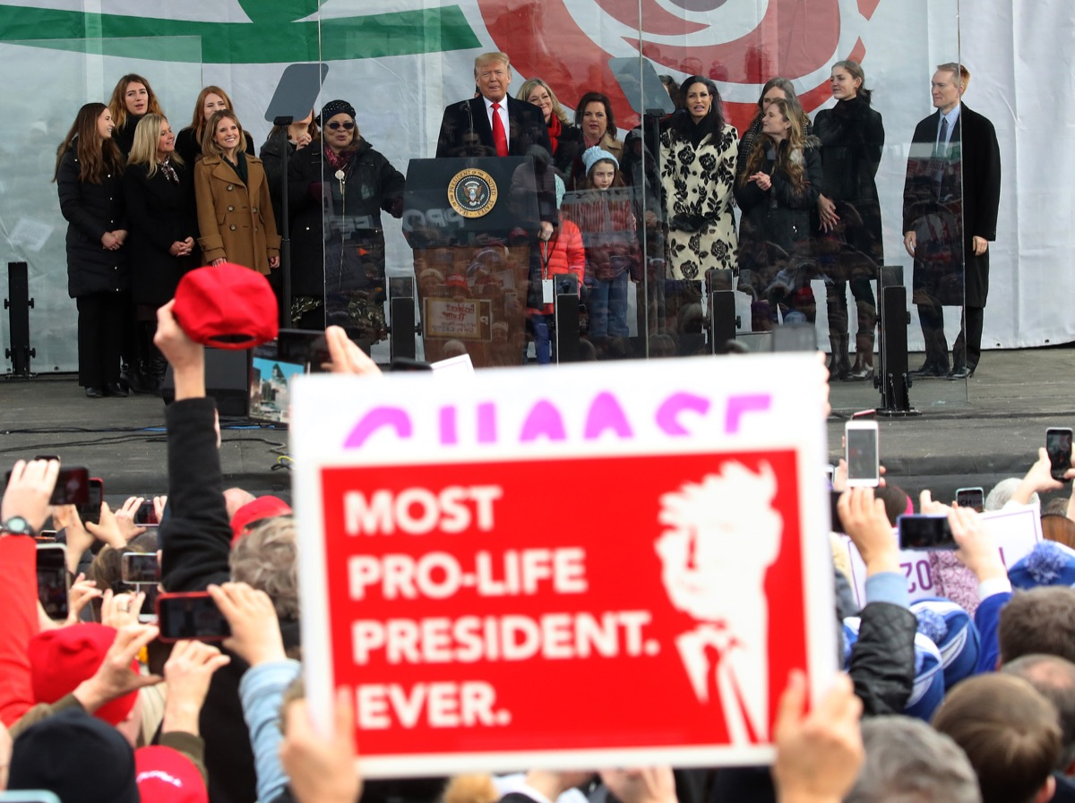 U.S. President Donald Trump speaks at the 47th March For Life rally on the National Mall, January 24, 2019 in Washington, DC. The Right to Life Campaign held its annual March For Life rally and march to the U.S. Supreme Court protesting the high court's 1973 Roe V. Wade decision making abortion legal.