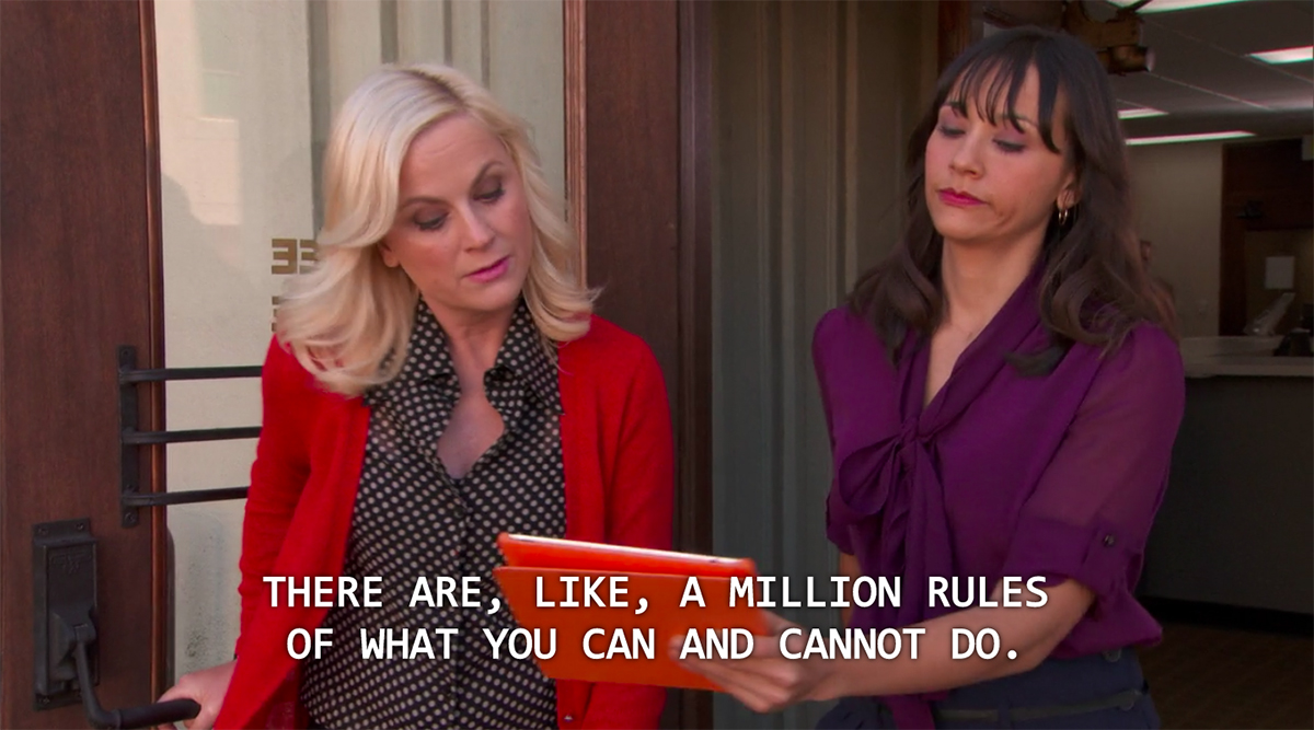 Leslie knope dealing with the Hatch act on parks and recreation