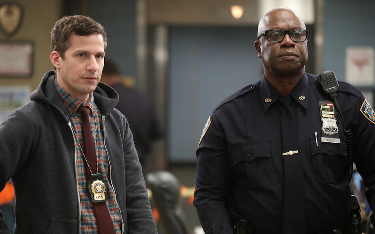 Andy Samberg as Jake Peralta, Andre Braugher as Ray Holt look disapproving.