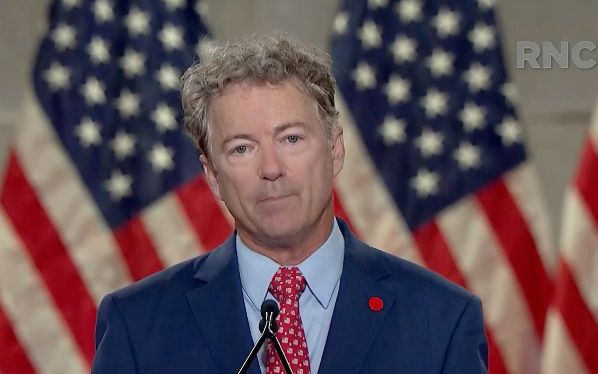 Rand Paul speaks in a screenshot from the virtual RNC.