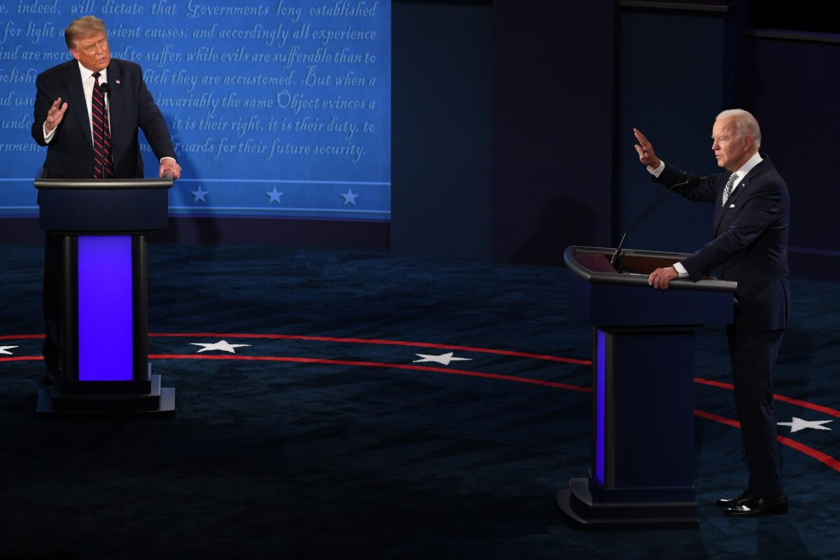 Democratic Presidential candidate and former US Vice President Joe Biden (R) and US President Donald Trump take part in the first presidential debate at Case Western Reserve University and Cleveland Clinic in Cleveland, Ohio, on September 29, 2020. (Photo by SAUL LOEB / AFP) (Photo by SAUL LOEB/AFP via Getty Images)