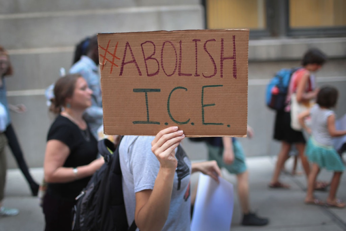 Demonstrators march through downtown calling for the abolition of the U.S. Immigration and Customs Enforcement (ICE) on August 16, 2018 in Chicago, Illinois.