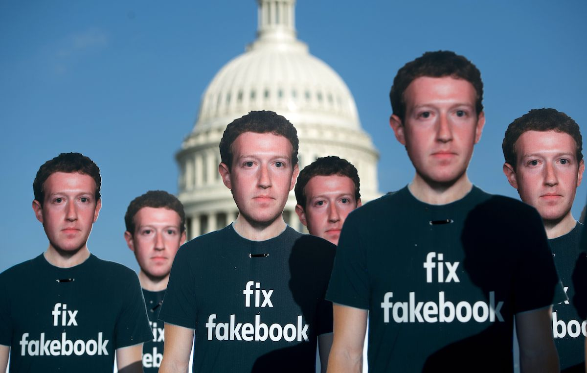 In a 2018 protest of misinformation on Facebook, 100 cardboard cutouts of Mark Zuckerberg were placed in front of the US Capitol Building.