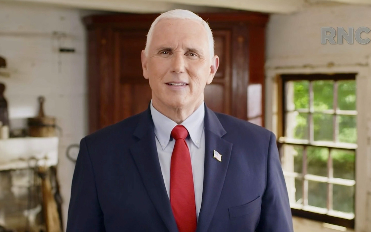 Mike Pence looks awkward speaking during the virtual RNC.