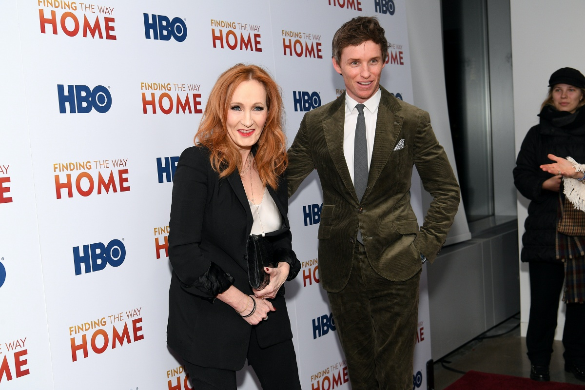 "HBO's ""Finding The Way Home"" World Premiere NEW YORK, NEW YORK - DECEMBER 11: J.K. Rowling (L) and Eddie Redmayne attend HBO's ""Finding The Way Home"" World Premiere at Hudson Yards on December 11, 2019 in New York City. (Photo by Dia Dipasupil/Getty Images)"