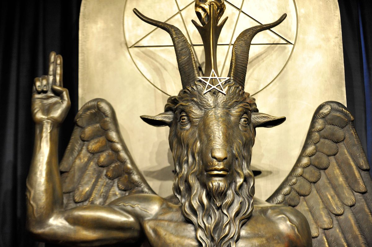 The Baphomet statue is seen in the conversion room at the Satanic Temple