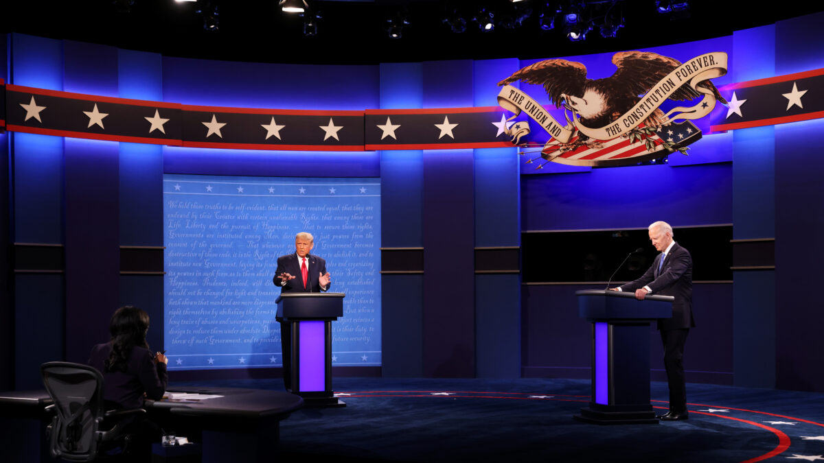NASHVILLE, TENNESSEE - OCTOBER 22: U.S. President Donald Trump and Democratic presidential nominee Joe Biden participate in the final presidential debate at Belmont University on October 22, 2020 in Nashville, Tennessee. This is the last debate between the two candidates before the election on November 3. (Photo by Justin Sullivan/Getty Images)