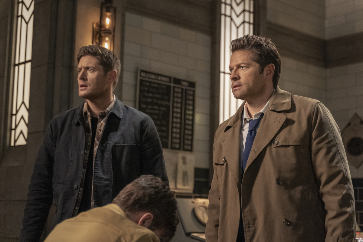 "Supernatural -- ""Despair"" -- Image Number: SN1518A_0461r.jpg -- Pictured (L-R): Jensen Ackles as Dean, Alexander Calvert as Jack and Misha Collins as Castiel -- Photo: Colin Bentley/The CW -- © 2020 The CW Network, LLC. All Rights Reserved."