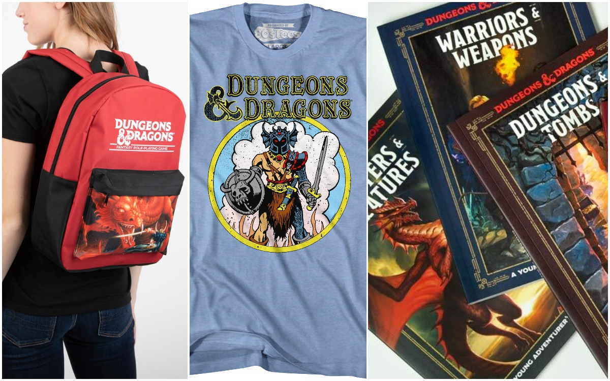A backpack, t-shirt, and book collection from our D&D gift guide.