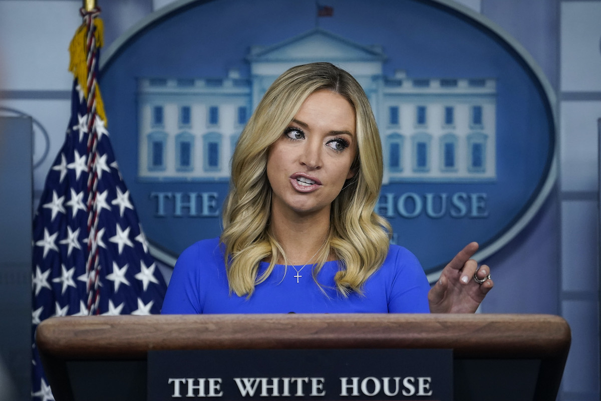 Kayleigh McEnany scolds reporters during a press briefing.