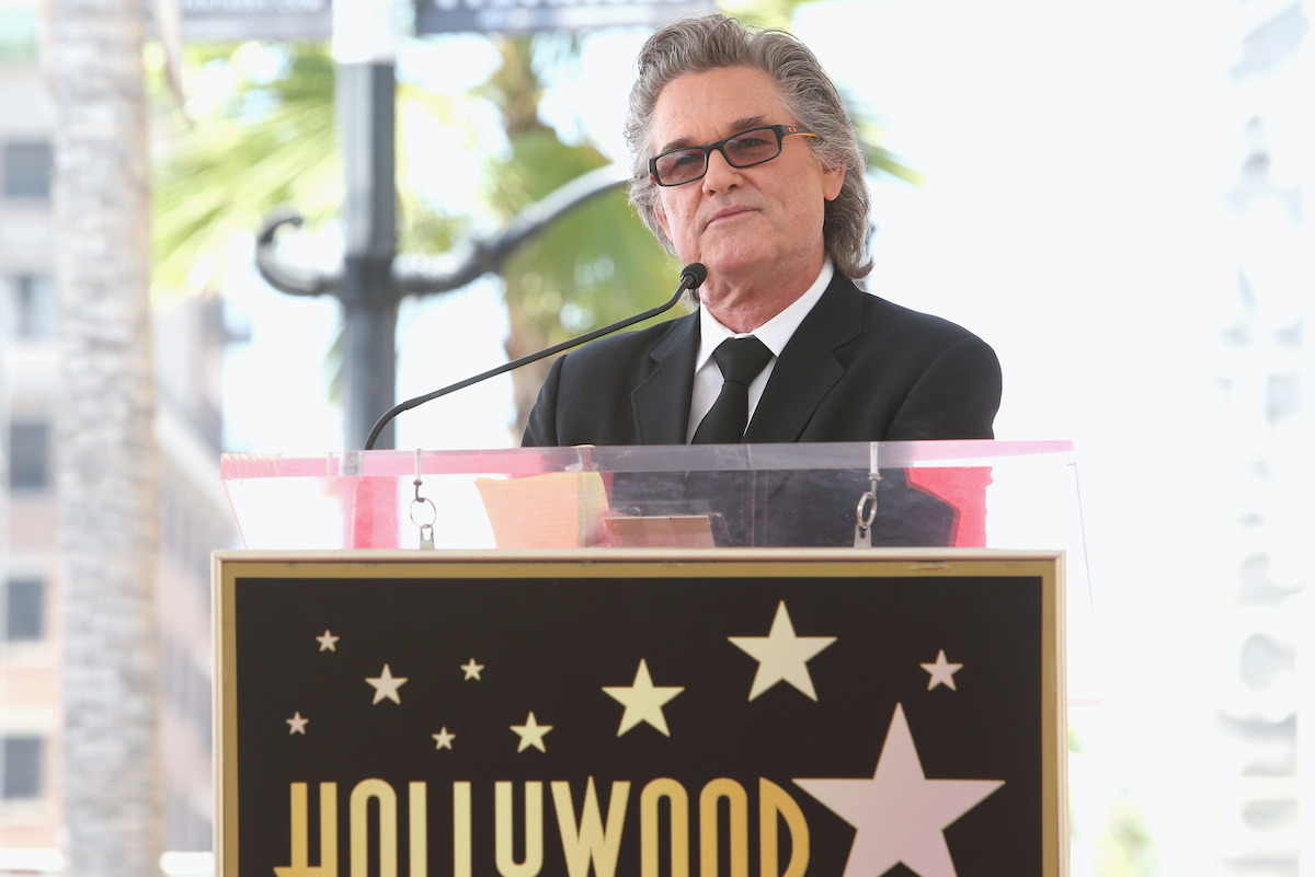 Kurt Russell speaks while being honored with a Star On the Hollywood Walk of Fame