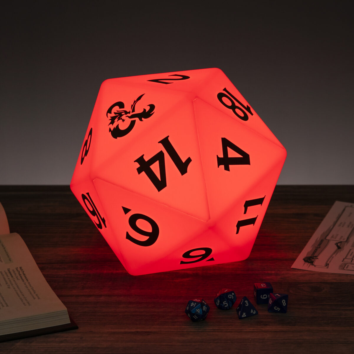 A D&D color-changing light shaped like a D20