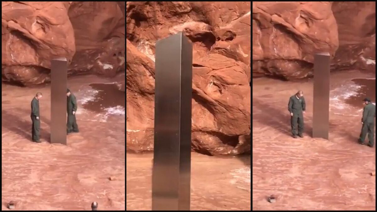 collage of three images of a large metal monolith in the utah dessert