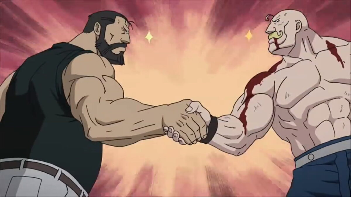 Image of Curtis and Armstrong shaking hands in Fullmetal Alchemist