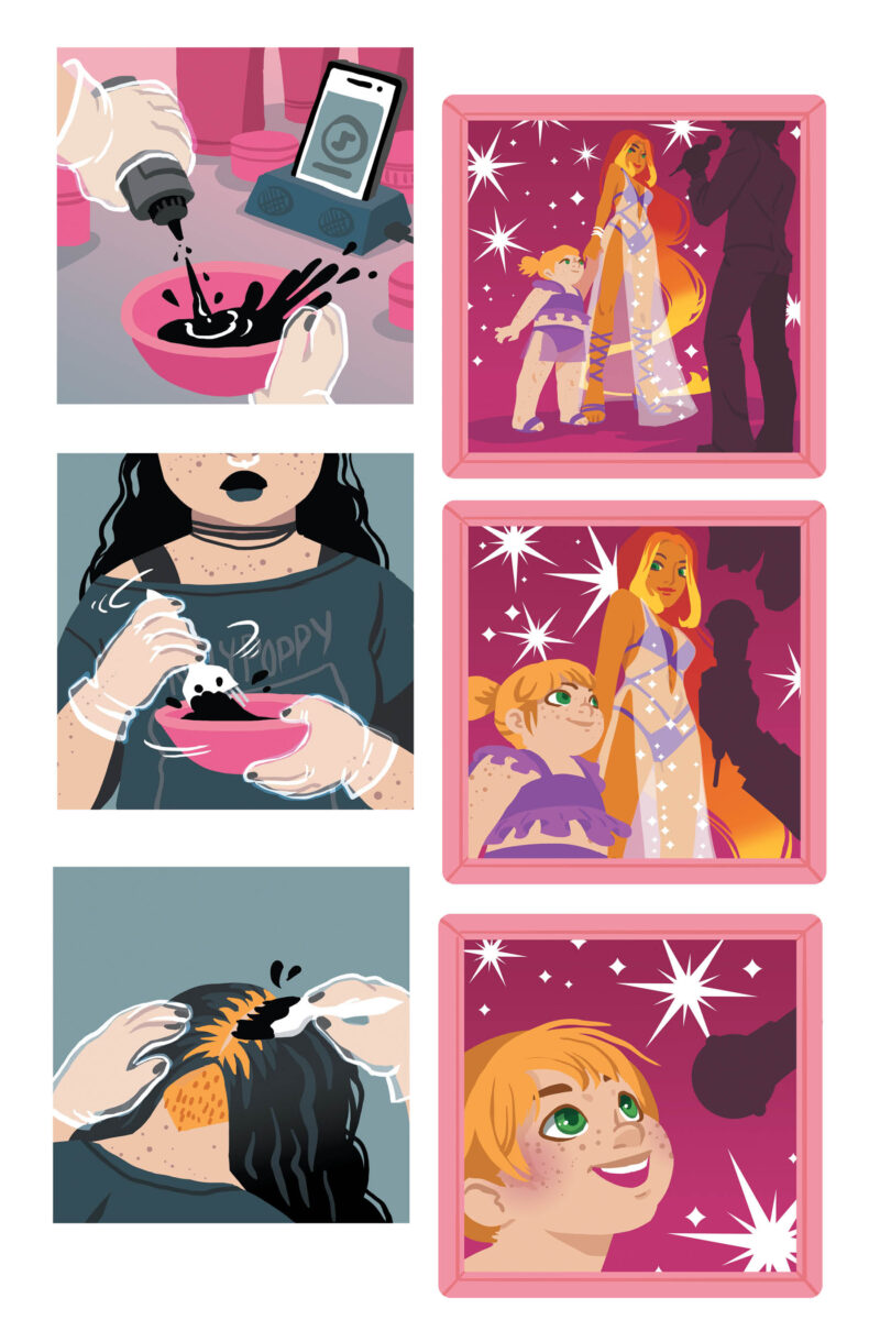 "Image of Mandy dying her hair in the upcoming GN ""I Am Not Starfire"""